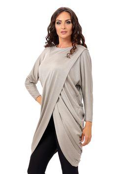 Bluza IRINA B010 gri Duster Coat, Long Sleeve, Sleeves, Jackets, Tops, Women, Fashion, Down Jackets, Moda