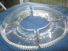 """""""  QUEEN MARY` each piece CURVED` RARE 6 PC` CONDIMENT SET` HOCKING DEPRESSION"""