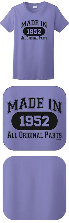 65th Birthday Candles Cards 65th Birthday Gift Made 1952 All Original Parts Ladies T-Shirt XL Violet