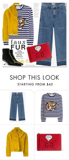 """""""Faux Fur Coats"""" by monica-dick ❤ liked on Polyvore featuring Gucci, Jean-Paul Gaultier, H&M, coats and fauxfurcoats"""