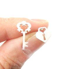 Key To My Heart Skeleton Key and Heart Shaped Lock Stud Earrings in Silver   DOTOLY