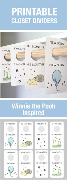Vintage Winnie the Pooh Nursery, Winnie the Pooh Baby Room, Printable Closet Dividers, Baby Room Themes, Baby Boy, Baby Girl, Gender Neutral, Baby Room Organization,