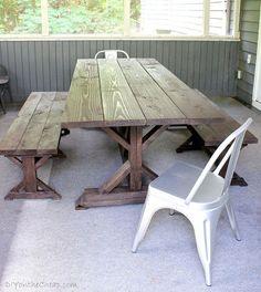 DIY Anthro-Inspired Outdoor Farmhouse Table & Benches