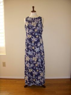 Blue white peach flower maxi dress saint tropez west