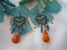 SALE GYPSY HEART Earrings Bohemian Copper earrings by Nezihe1, $11.00