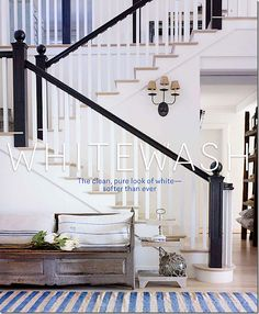 Love the black banister, White California Beach House Black Stair Railing, Black Stairs, White Staircase, White Banister, Painted Banister, House Staircase, Wood Staircase, Spiral Staircase, Style At Home