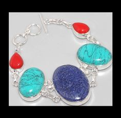 NEW - BLUE LAPIS LAZULI, TURQUOISE & RED CORAL SILVER PLATED BRACELET…