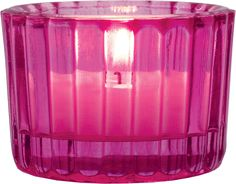 Fuchsia Pink Colored Glass Candles Holders