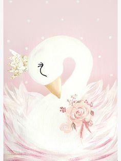 'Swan Princess Bird Crown Pink Gold Flowers' Art Print by TheArtistsFamil Flower Canvas, Flower Art, Vintage Clipart, Crown Painting, Unicornios Wallpaper, Baby Girl Birthday Dress, Flamingo Art, Gold Flowers, Baby Decor
