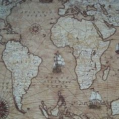 Vintage world map cotton linen fabric for curtain upholstery sold vintage sailing around the globe world map atlas cotton linen look fabric gumiabroncs Gallery