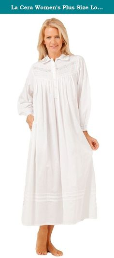 Plus Size Sleepwear - La Cera Long Sleeve White Cotton Collared Gown 56de0141c