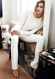 Le Fashion Blog Abbey Lee Kershaw All White Holiday Party Look White Long Sleeve Top White Pants Metallic Heeled Sandals Via Vogue Korea