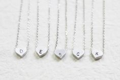 Bridesmaid Gift Set- Set of 5 Silver Initial Heart Charm Necklace - Personalized Initial - S2324-1 on Etsy, $58.00