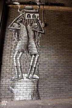 Sheffield Street Artist Phlegm In Old Street, London Graffiti Murals, Murals Street Art, Street Art Graffiti, Old Street London, Sheffield Art, Sidewalk Art, Best Street Art, Outdoor Art, Street Artists