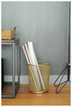 Spray Paint a boring office waste paper bin a fun metallic! via Mer Mag