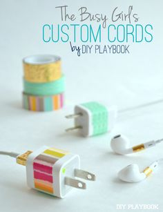 What a great life hack! Organize your phone chargers and cords using colorful washi tape.