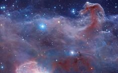 Horsehead Nebula: A Wider View Combined image data from the massive, ground-based VISTA telescope and the Hubble Space Telescope was used to create this wide perspective of the interstellar landscape surrounding the famous Horsehead Nebula. Horsehead Nebula, Orion Nebula, Constellation Orion, Helix Nebula, Carina Nebula, Andromeda Galaxy, Cosmos, Hubble Space Telescope, Space And Astronomy