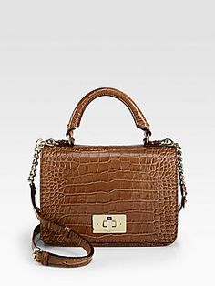 LOVE Kate Spade New York Carlyle Patent Crocodile-Embossed Leather Top Handle Bag