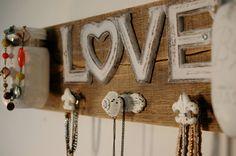 White Love board with white knobs and white mason jars by SplintersAndNails, $41.50