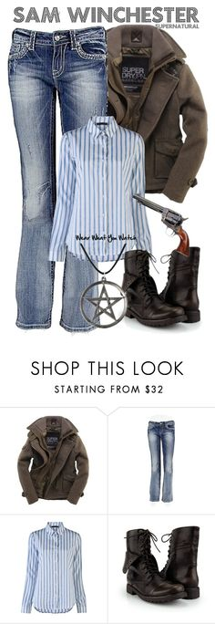 """""""Supernatural"""" by wearwhatyouwatch ❤ liked on Polyvore featuring Superdry, Miss Me, The Row, combat boots, supernatural, pentagram, wool, boot cut denim and jared padalecki"""