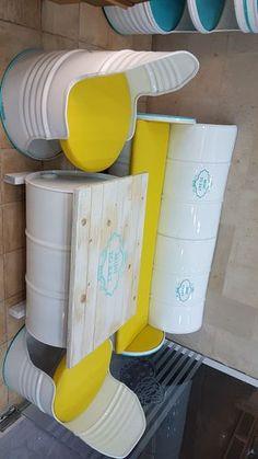 Drum Furniture, upcycled at Vintalgia Garage Furniture, Barrel Furniture, Pipe Furniture, Recycled Furniture, Furniture Design, Deco Restaurant, Restaurant Design, Drum Seat, Oil Barrel