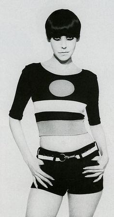 1964. Model Peggy Moffitt in Rudy Gernreich cut-out bathing suit. Photo by husband William Claxton (B1927-D2008)