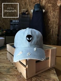 Baseball Cap Alien Hat, Denim Cap, Jean Cap, Alien Cap, Girlfriend gift, Low-Profile Baseball Cap Baseball Hat