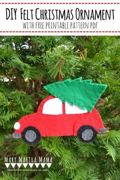 Make one of these cute diy felt Christmas ornaments with my free printable pattern and full tutorial. #diychristmas #diychristmasornament #feltornament