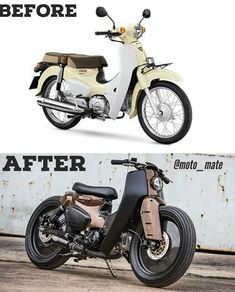 Honda Super Cub motorcycle got a new look when two Thai tuners partnered up to turn it into a cafe racer. Motorcycle Racers, Retro Motorcycle, Motorcycle Design, Trike Bicycle, Recumbent Bicycle, Vespa Images, Cool Dirt Bikes, Honda Cub, Bicycle Painting