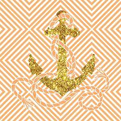 Bling Golden Glitter Peach Nautical Anchor Art Print Cute Backgrounds, Wallpaper Backgrounds, Iphone Wallpaper, Phone Backgrounds, Wallpapers, Anchor Background, Anchor Art, Nautical Theme, Nautical Anchor