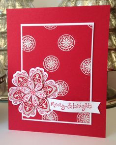 Stampin' Up! ... handmade Christmas card from Iguanastamp! Stampin' Up Mixed Bunch ...monochromatic red ... beautiful !