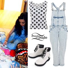 I love polka dots!...and those dungarees with white boots!