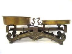 Antique Cast Iron and Brass Kitchen Scale by AdryVintage on Etsy, $140.00