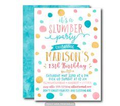 13th Birthday Invitation Slumber Party Sleepover Blue Pink Pyjama Tweens Teenage Printable DIY 1537