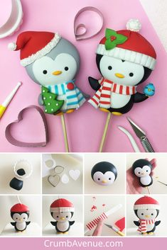 Cute Penguin Cake Topper FREE Tutorial - fondant gum paste figurine Christmas festive figure Noel cake decorations kids diy idea clay inspiration step by step scarf penguins hat Penguin Cake Toppers, Penguin Cakes, Fondant Toppers, Fondant Cupcakes, Fondant Bow, Fondant Flowers, Christmas Cupcakes Decoration, Christmas Cake Topper, Polymer Clay Ornaments