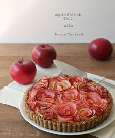 Sweet, buttery AND beautiful apple walnut tart. Moist, delicious apple filling with toasty walnut crust and silky sweet maple custard filling. Gluten-Free!