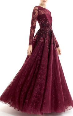 Long Sleeve Embellished Gown by Georges Hobeika