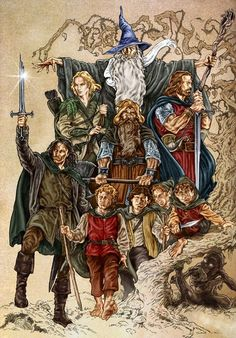"""the company by NachoCastro.deviantart.com on @deviantART - The Fellowship (plus Gollum) from """"Lord of the Rings"""". Coloured version of http://www.pinterest.com/pin/398076054535237157/"""