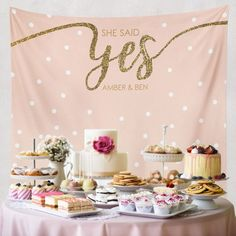 She Said Yes, Bridal Shower Decorations, Engagement Decor, Engagement Party Decorations, Bridal Shower Banner/ wedding backdrop Bridal Shower Backdrop, Wedding Shower Decorations, Engagement Party Decorations, Bridal Shower Rustic, Bridal Shower Gifts, Bridal Showers, Engagement Parties, Wedding Backdrops, Wedding Parties