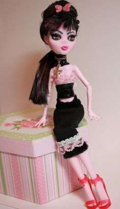 """""""Leather & Lace"""" OOAK Altered Art Monster High Doll Draculaura Repaint by Refabrications"""