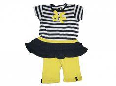 Maat 68 Set van 2 Jurk Donkerblauw/wit gestreept met gele strikken en gele legging  Merk U2BS