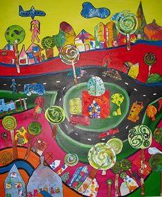één van de vier panelen van het kunstwerk dat ik gemaakt heb op basisschool De Bijenkorf met alle leerlingen van groep 1 t/m 8