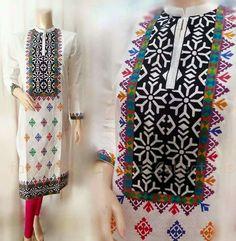 Fashion Arabic Style Illustration Description – Read More – Embroidery Neck Designs, Basic Embroidery Stitches, Applique Designs, Applique Dress, Embroidery Dress, Hand Embroidery, Salwar Pattern, Kurti Patterns, Sindhi Dress