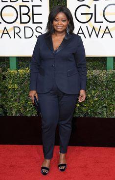 Octavia Spencer Tux: Laura Basci Carpets Online, Golden Globes After Party, Golden Globe Award, Hollywood, Red Carpet Looks, Who What Wear, Fashion 2017, Octavia Spencer