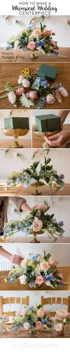 Learn how to make this beautiful centerpiece for your diy wedding. Can you believe these are silk flowers?! #fauxreal  Design by Pumpkin and Pye Photos by Evolve Photo