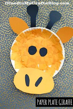 Inspired by the book Laughing Giraffe by Mwenye Hadithi {affiliate link} today I present to you our Paper Plate Giraffe kid craft idea! Giraffe Crafts, Animal Crafts For Kids, Art For Kids, Safari Crafts, Dinosaur Crafts, Toddler Art, Toddler Crafts, Summer Crafts For Toddlers, Paper Plate Animals
