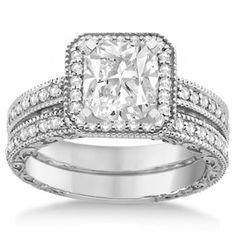 Square Halo Wedding Band & Diamond Engagement Ring Palladium (0.52ct.) - Allurez.com