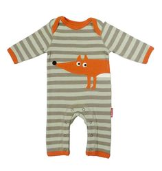 organic fox applique sleepsuit by toby tiger | notonthehighstreet.com