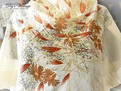 Vintage Jim Renoir Tan Floral Scarf Tan Beige Brown Floral