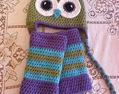 Green Purple and Turqoise Owl Hat and Leg Warmers